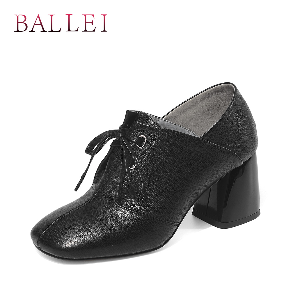 BALLEI Luxury Woman Classic Pumps Quality Genuine Leather Retro Square Toe Thick Heel Shoes Fashion Lace-up Solid Pumps D102BALLEI Luxury Woman Classic Pumps Quality Genuine Leather Retro Square Toe Thick Heel Shoes Fashion Lace-up Solid Pumps D102