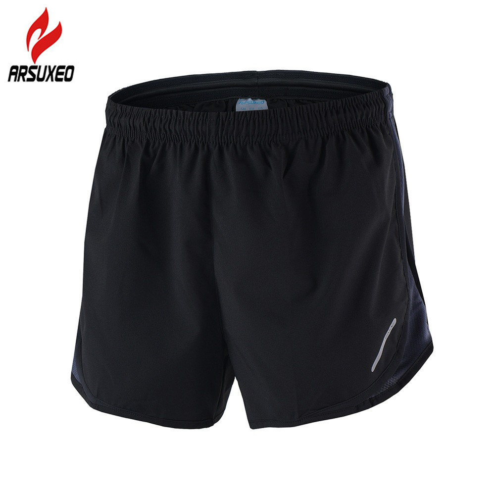 ARSUXEO 2-in-1 Marathon Running Shorts Men Breathable Quick Dry Training Fitness Athletic Gym Sports Shorts With Zipper Pocket