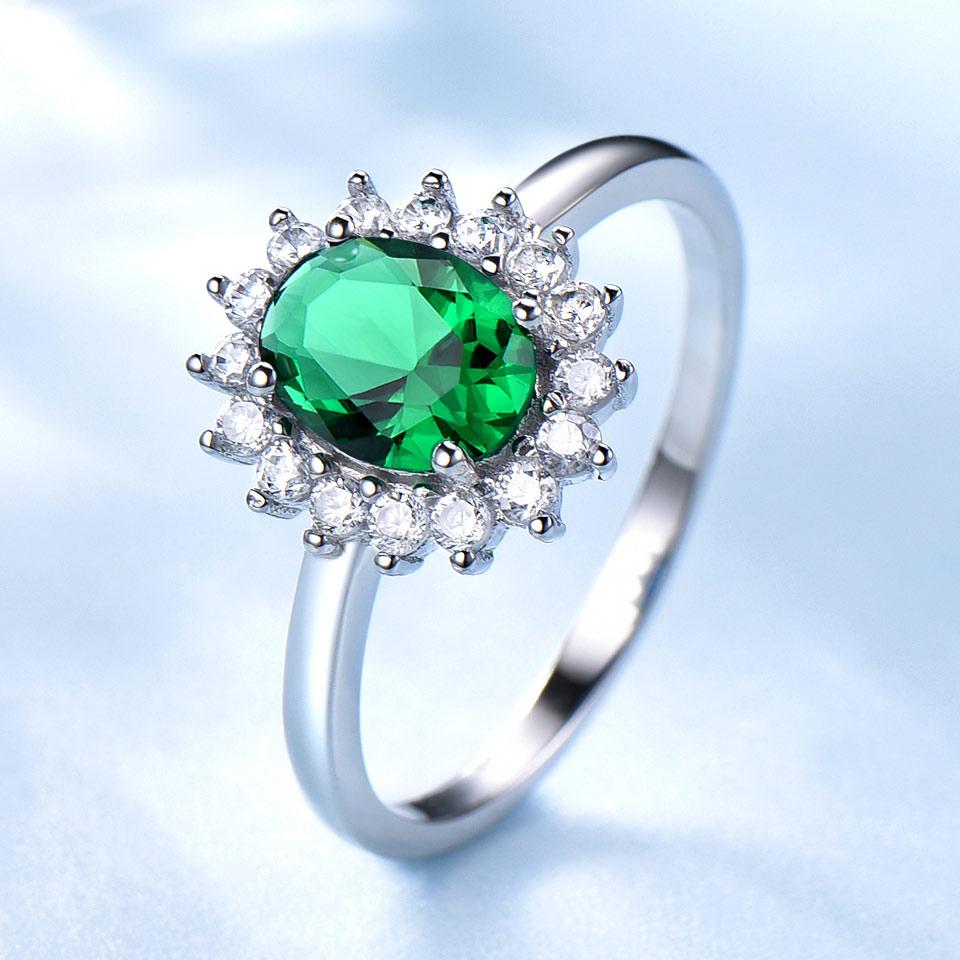 UMCHO Emerald Gemstone Rings Untuk Wanita Putri Diana Cincin Padat - Perhiasan bagus - Foto 2