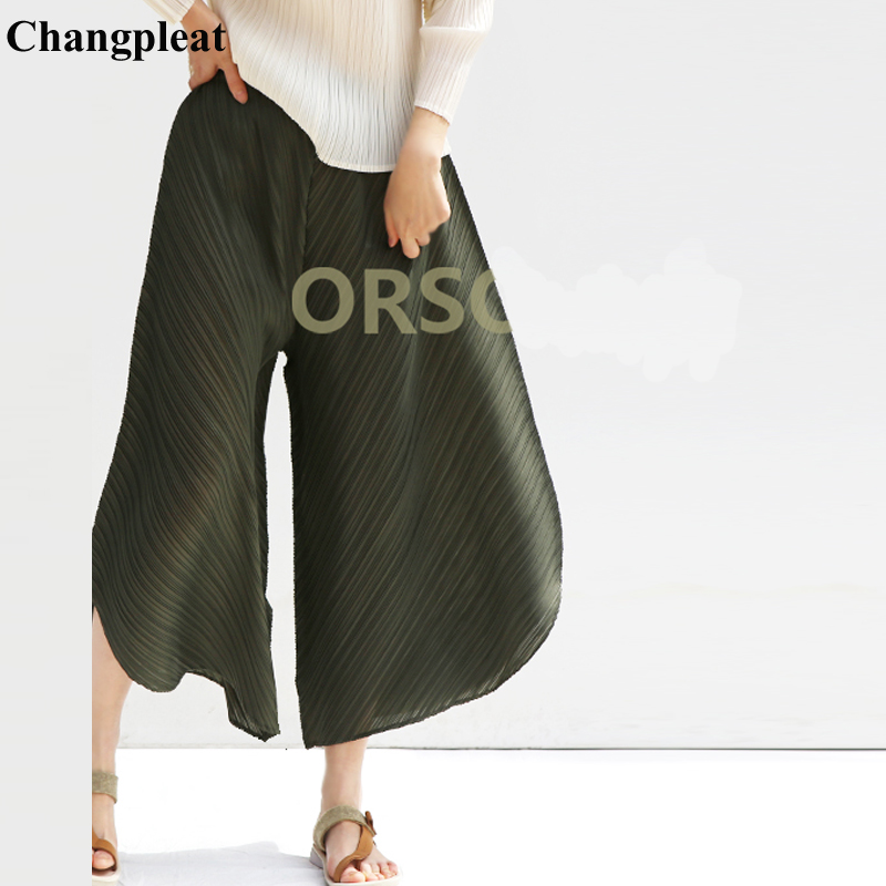 Changpleat 2019 Summer New Women   Wide     leg     pants   Miyak Pleated Fashion Desing Solid High Waist Loose Large Size Female   Pants   Tide