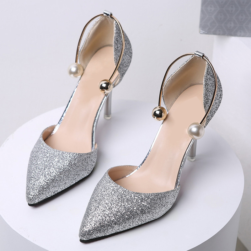 saziae2017 spring autumn women pumps sexy black gold silver high heels shoes fashion luxury crystal pumps wedding party shoes