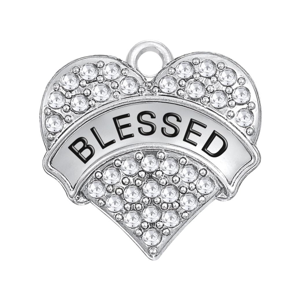 640020d9b052 Mi forma 10 piezas Aleación de Zinc chapado letras Santísima religiosa  claro cristal corazón colgante encanto