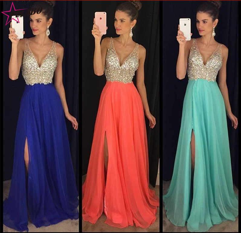 טלאים ארוך המפלגה שמלת 2019 סקסי שמלות כלה לנשים בוהמי V-צוואר פאייטים ללא משענת חוף כלה שמלות Vestidos