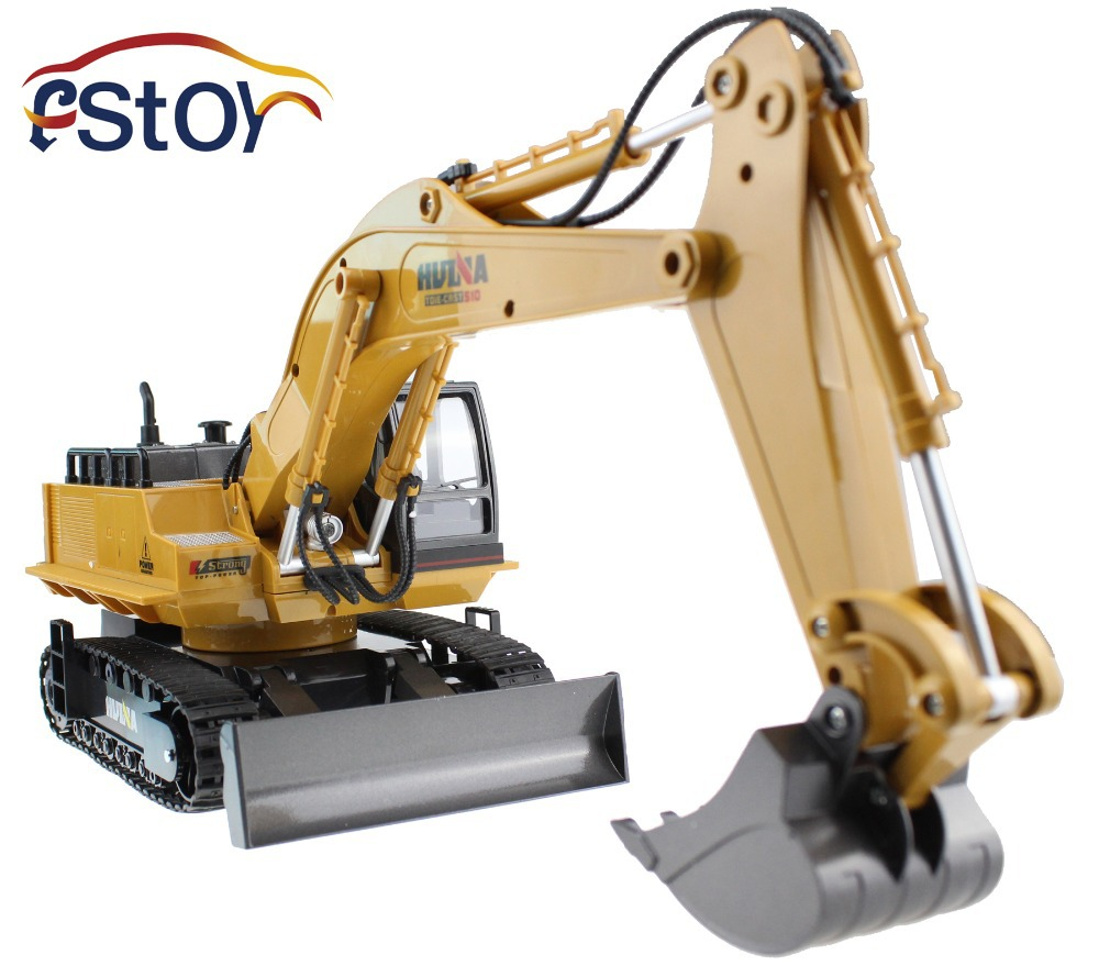 RC Excavator Alloy 2.4G 11CH Remote Control Engineering Truck Digger Truck Model Electronic Excavator Heavy Machinery Toy
