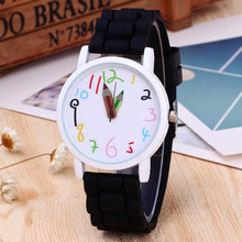 Children Watch Fashion Casual Watches Kids Cute Pencil Dial Quartz Watch Boys Girls Candy Color Silicone Sport Wristwatches
