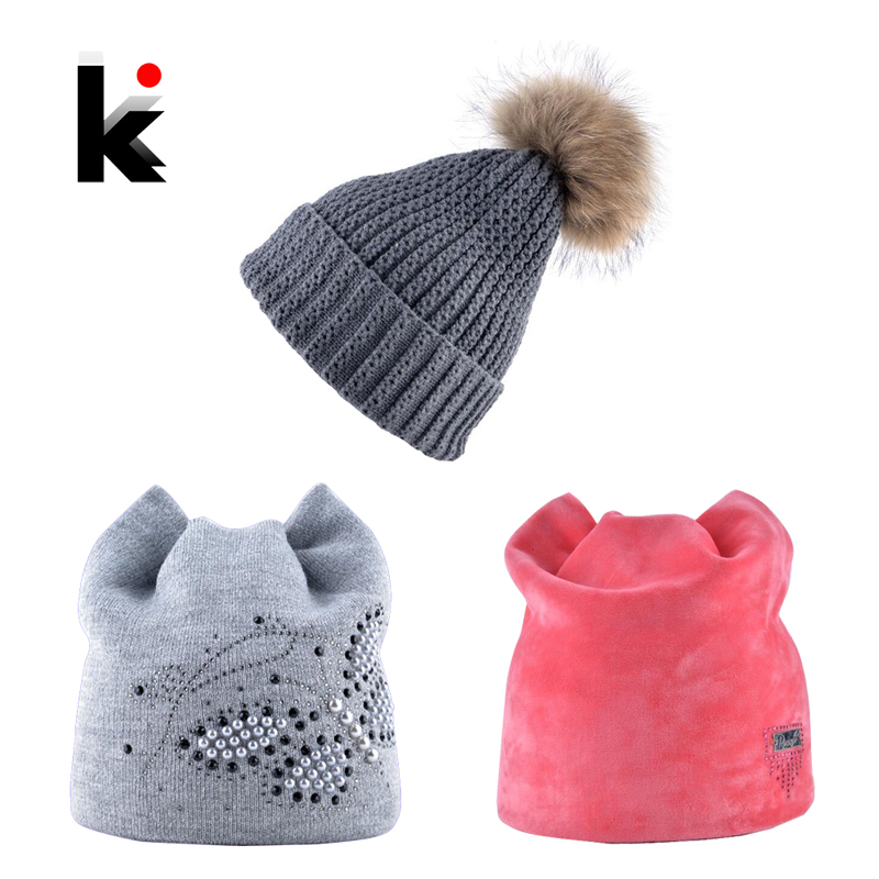 Winter Hat Women   Skullies     Beanies   Girls Warm Knitted Fur Pompom Caps Three Hats Package Multi Color Fashion Lady   Beanie   Gorras