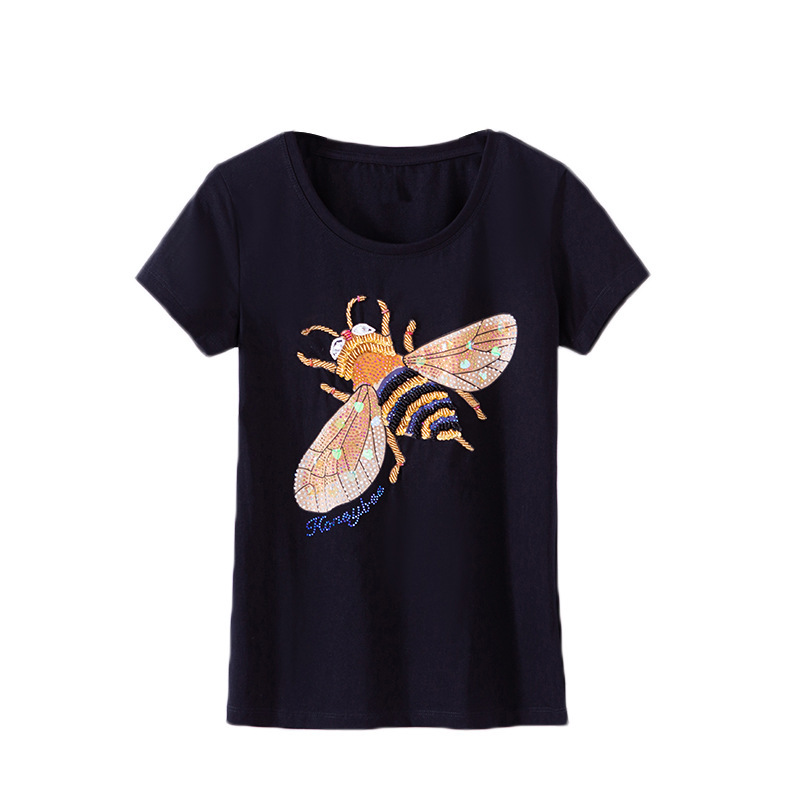 2019 Fashion Summer T Shirt Women Clothing Tops Beading Diamond Sequins Bee Print T-shirt Woman Clothes Plus Size 4XL 3219