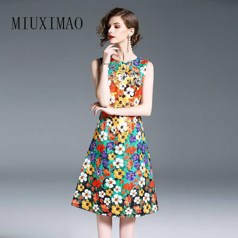 Высокое качество 2018 Весна новое поступление модное платье трапециевидной формы с О-образным вырезом без рукавов с бриллиантами элегантное платье по колено для женщин