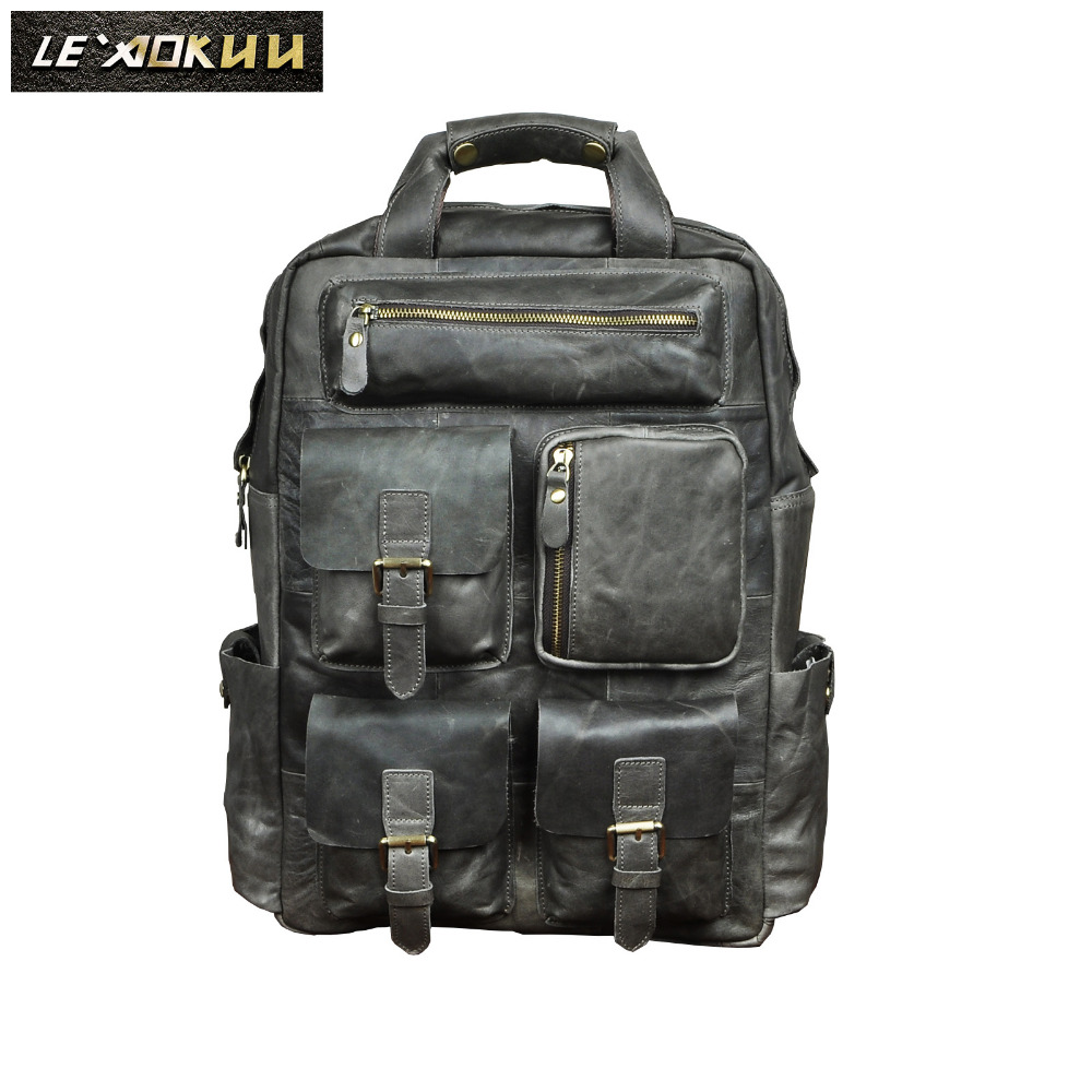 Design Male Leather Casual Fashion Heavy Duty Travel School University College Laptop Bag Backpack Knapsack Daypack Men 1170g genuine leather heavy duty design men travel casual backpack daypack fashion knapsack college school book laptop bag male 1170c