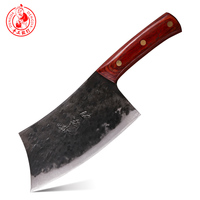DENGJIA Chinese Handmade Kitchen Cleaver Carbon Knife Vegetable Knives and Meat Cutte Slicing Knife Fine Handmade Handle