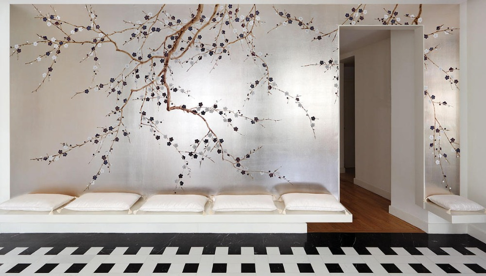 Luxurious Europe style Hand painted gold foil/silver goil wallpaper painting plum blossom hand painted many pictures optional