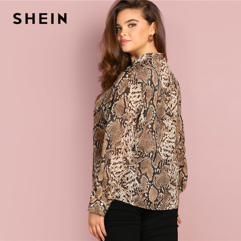 SHEIN Plus Size Tie Neck Snake Skin Print Women Blouses Office Lady Long Sleeve Elegant Spring Autumn Workwear Tops And Blouses 2