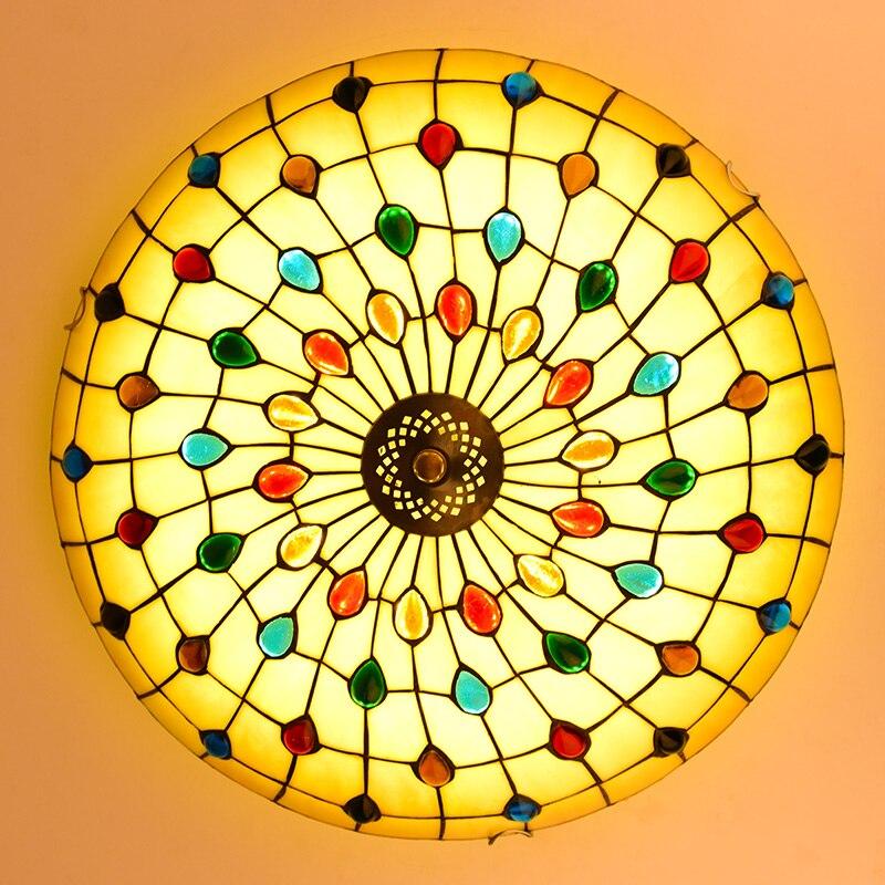 Тиффани Средиземноморский стиль Павлин натуральный в виде ракушки Потолочные светильники люстры ночник светодио дный светодиодный светил...