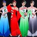 Novo Design Mulher Guarda-chuva Chinês Fã Yangko Roupas de Dança Trajes de Dança Folclórica 4 Cor Clássica Hanfu