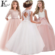 Girls Evening Party Dress 2019 Summer Kids Dresses For Girls Children Costume Elegant Princess Dress Flower Girls Wedding Dress(China)