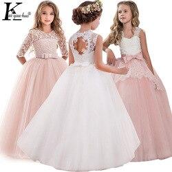 Crianças vestidos de festa à noite elegante menina princesa vestido 2019 verão crianças vestidos para meninas traje flor meninas vestido de casamento