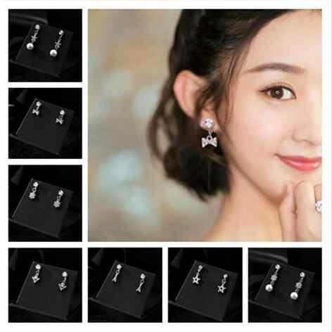E 1374 moda coreana perla de cristal super flash personalidad simple mini temperamento pequeños pendientes mujer dulce accesorios de joyería