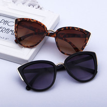 HJYBBSN Vintage Cat Eye Women`s Sunglasses Luxury Brand Design Leopard Ray Bann Driver Sun