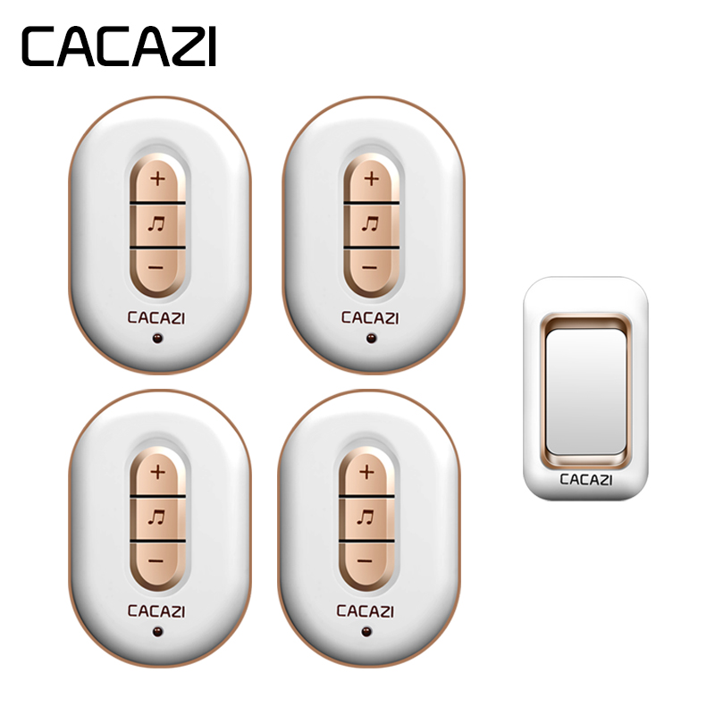 CACAZI Wireless Waterproof Doorbell 300M Remote 1 Battery Button + 4 Receivers US EU Plug Home Cordless Bell 6 Volume 48 Chime cacazi wireless doorbell waterproof 350m remote 3 battery button 3 receivers 48 chime 6 volume eu plug home cordless bell