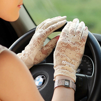 On Sale Fashion Women Sunscreen Gloves Female Lace Summer Five Finger Anti UV Wrist Short Sun