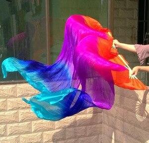 Image 5 - Professionelle 100% Echt Seide Bauchtanz Fan Schleier Falten Lange Fan Regenbogen Farbe Mädchen Erwachsene Größe 1.2/1.5/1.8/2,1 m Kostenloser Versand