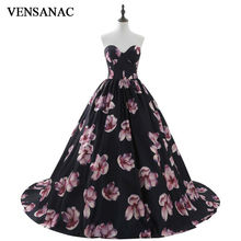 VENSANAC New A Line 2017 Flowers Sweetheart Draped Long Evening Dresses Sleeveless Elegant Off The Shoulder Party Prom Gowns