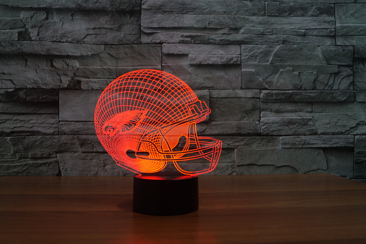 led light gift furnitures for children fans 3d led Philadelphia Eagles football cap helmet