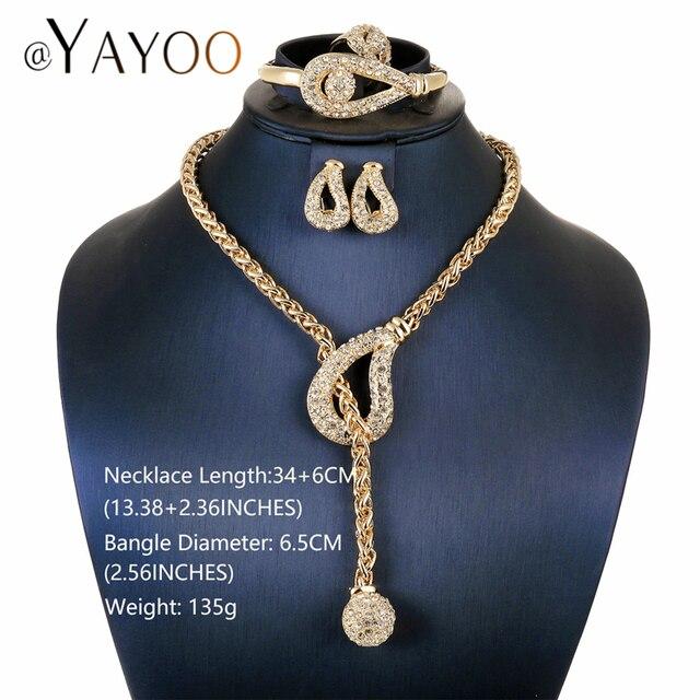 AYAYOO Beads Africani Gioielli Da Sposa Matrimonio Nigeriano di Colore Dell'oro Lunga Collana Set di Gioielli Per Le Donne di Lusso Dubai Set di Gioielli