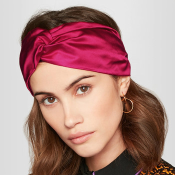 new Luxury Women knotted Headband Twist Turban Solid Color Cross Knot Headwrap bandage real Silk Satin Elastic Hair Accessories 1