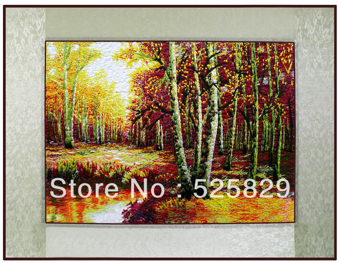 High Quality Wall Hanging Painting Natural Scenery Embroidery Autumn Birch Wall Art Home Decor Artificial Crafts
