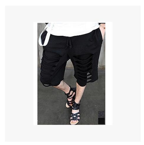 HOT 2018 NEW MENS Korean Summer Short pants all-match torn edge faux two piece set casual calf length pants singer costumes