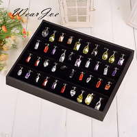High Quality Black Leatherette Pendant Display Tray With Hooks Compartment Velvet Holder Flat Jewelry Storage Box