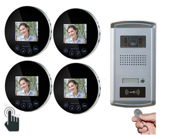 ZHUDELE New Arrival 4.3video door phone smart home security intercom system with 700TVL Camera,night vision ID card unlock 1V4