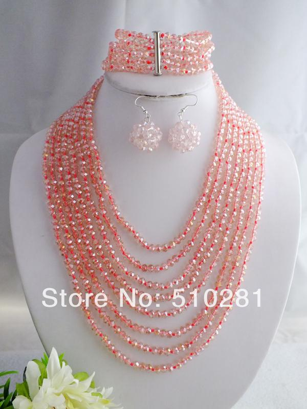 Trendy Party Jewelry Set, African Wedding Pink Crystal Necklace LK-732