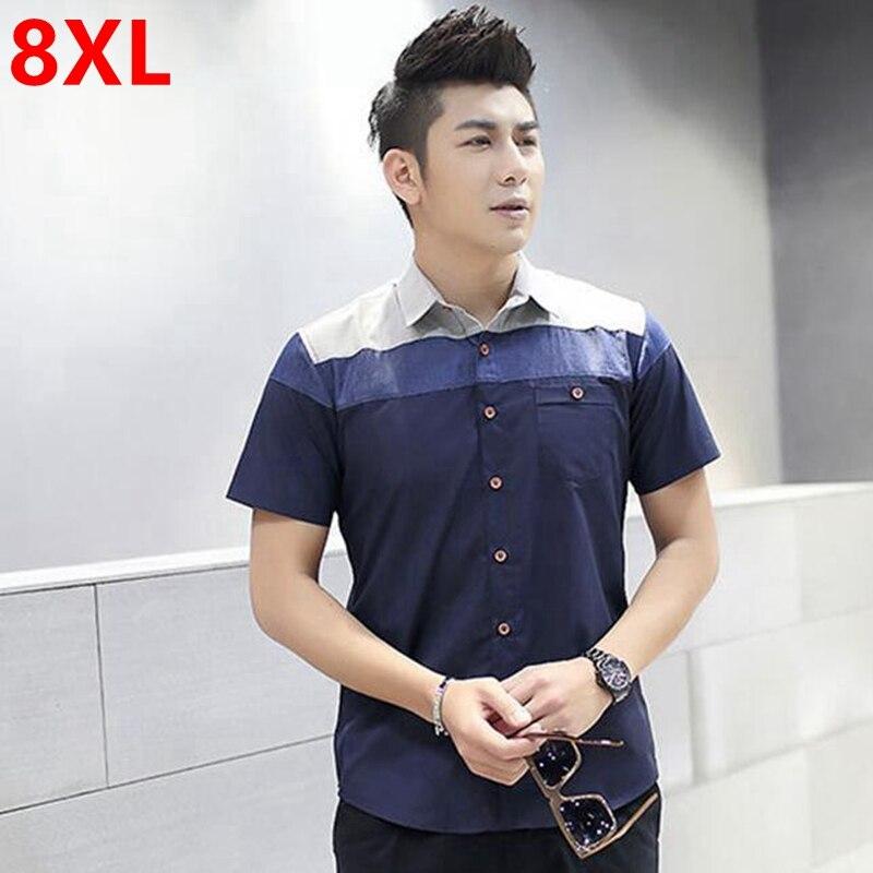 גודל גדול גברים חולצה עם שרוולים קצרה 8XL גדול וגבוה חצי שרוול חולצה איש צעיר גדול XL 5XL דשן מיוחד