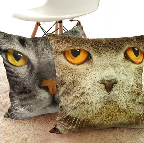 Novelty 3D Cat Pillow Covers Patio Car Sofa Chairs Shabby Chic Home Decor  Cushions Cute Gift