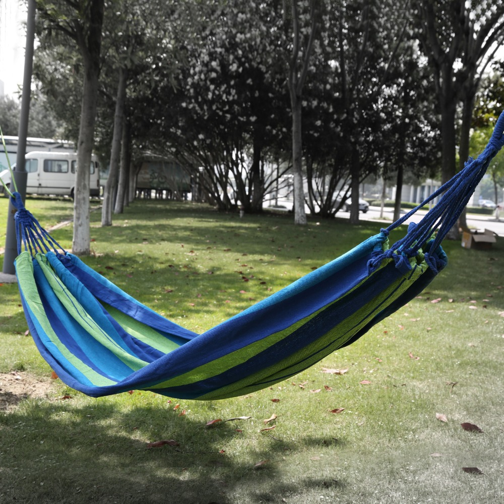 200x150cm 2 person outdoor swing hammock camping canvas camping portable hanging bed wstorage bag