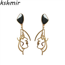 kshmir Personality earrings  Fashion curve face eardrop of resin Wholesale fashion exquisite female 2018