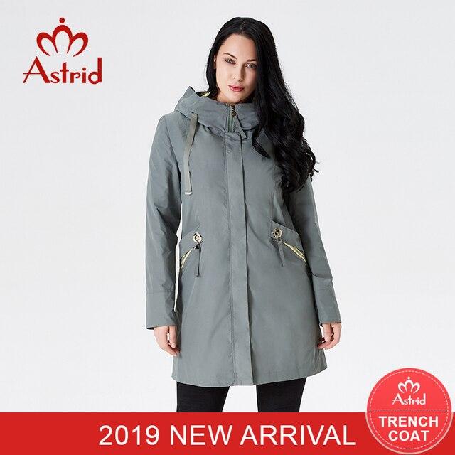 Астрид 2019 Для женщин s Тренч высокое качество Для женщин зеленый цвет Ветровка Весна Длинные элегантные пальто капюшоном пальто новый стиль B08