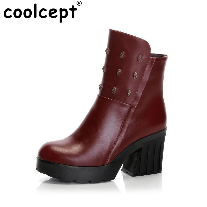 ФОТО CooLcept Free shipping ankle half short natural real genuine leather boots women snow boot high heel shoes R4804 EUR size 34-39