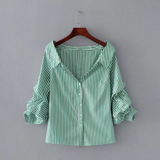 6f8a50cebcff Elegant Spring 2018 New Style White Womens Blouse Long Sleeve Turn Down  Collar Blue Green Striped Casual Ladies Shirt Tops