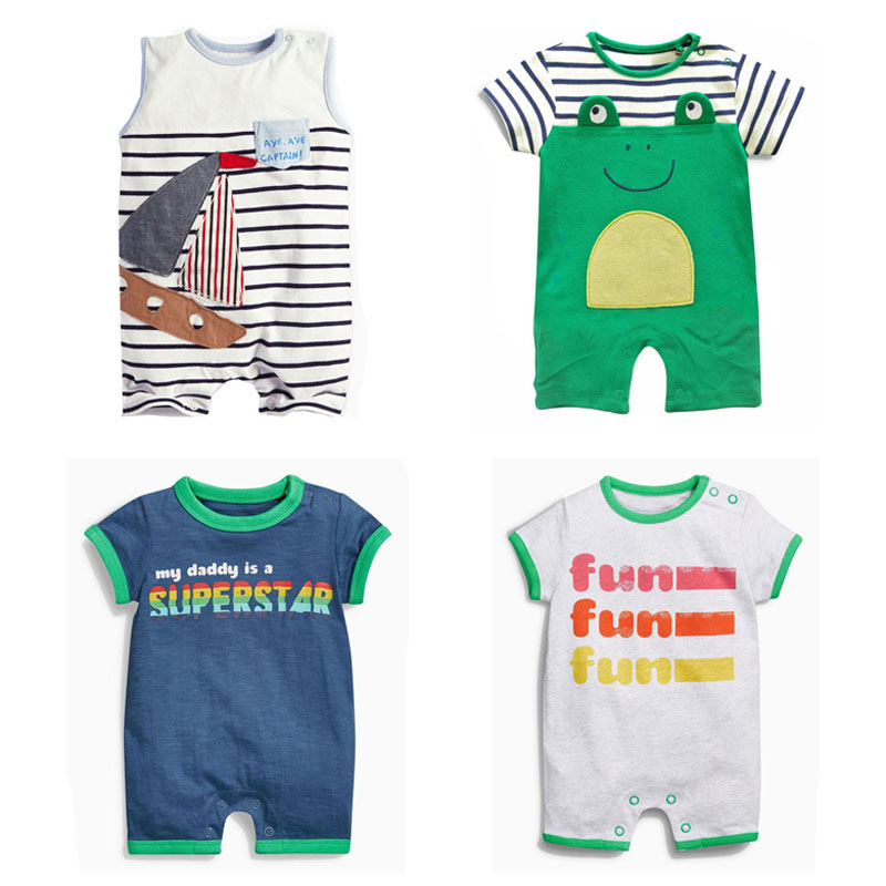 Branded Quality 100% Cotton Ropa Bebe Summer Newborn Baby Boys Clothing Clothes Creeper Jumpsuits Short Sleeve Rompers Baby Boys baby rompers cotton long sleeve 0 24m baby clothing for newborn baby captain clothes boys clothes ropa bebes jumpsuit custume