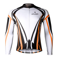Arancione Stripes Maglia Ciclismo Uomini Manica Lunga Ciclismo Abbigliamento Girocollo Ciclismo Ropa Cerniera Intera Abbigliamento Mountain Bike