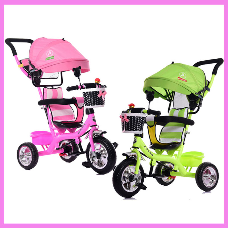 Portable Baby Toddle Child Tricycle Bike Trolley Umbrella Stroller Pushchair Pram Buggy Bicycle 6 M~5 Y Brand Quality baby stroller pram bb rubber wheel inflatable tires child tricycle infant stroller baby bike 1 6 years old bicycle baby car