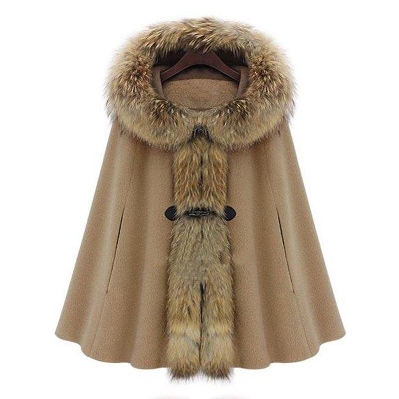 Женское элегантное пальто с капюшоном, шерстяное темно-серое Коричневое Пальто-накидка на осень-зиму, с роговыми пуговицами, рукав «летучая...