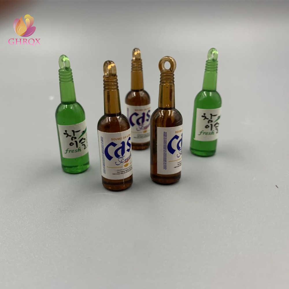 محاكاة زجاجة نبيذ DIY القرط الاكسسوارات المفاتيح الاكريليك الإبداعية قلادة 2 قطعة