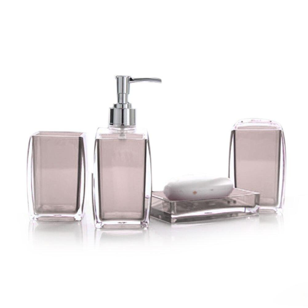 4 Piece Acrylic Bathroom Accessory Set Soap Dispenser Bottle Soap ...