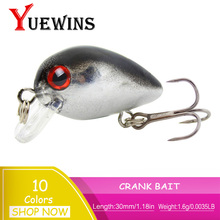 Купить с кэшбэком YUEWINS Crank Mini Fishing Lure 30mm 1.6g Hard Bait Wobblers Peche Isca Artificial Crankbait Topwater Fishing Tackle TP309