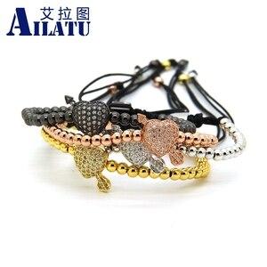 Image 4 - Ailatu CZ Arrow Through Love Heart Bracelet Clear Cz Beads and 4mm Stainless Steel Couple Wedding Jewelry