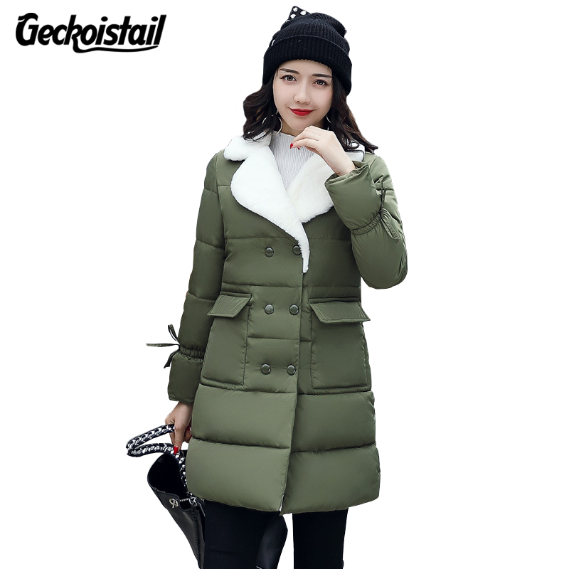 Geckoistail Woman Winter Jacket Coat 2018 Fashion Cotton Padded Jacket Long Hood Slim   Parkas   Plus Size Thicken Female Outerwear